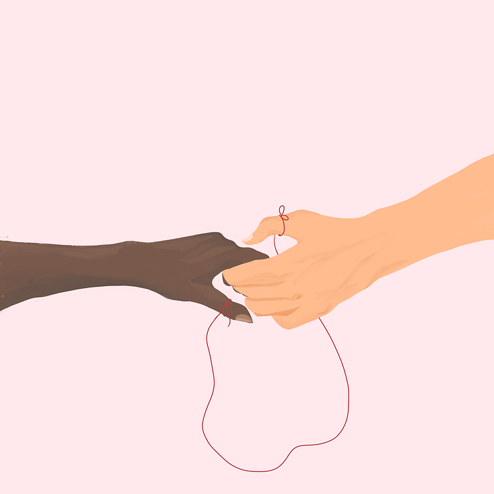 Hands, Hold, Red Thread, Connection, Love, Red String