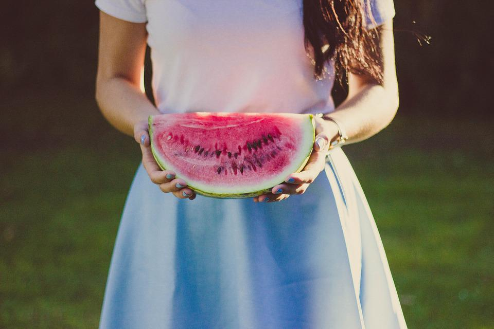 Watermelon, Fruit, Female, Hands, Person, Holding