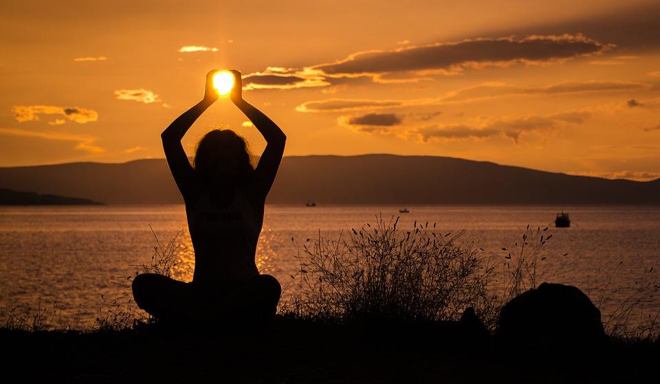 Sun Holding Sunset Yoga Female Nature Girl
