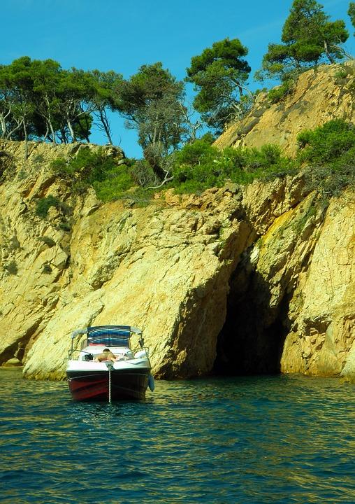 Palamós, Empordà, Cliff, Holes, Cave, Boat, Beach