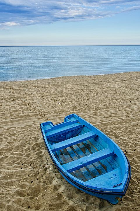 Boat, Rowing, Beach, Water, Recreation, Blue, Holiday
