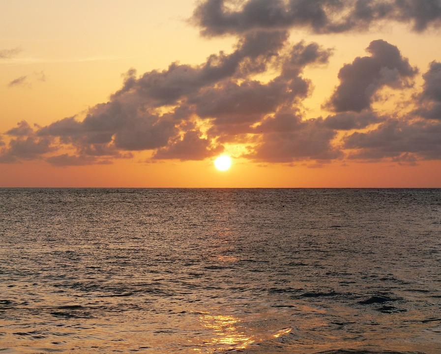 Sunset, Golden, Caribbean, Vacation, Holiday, Ocean