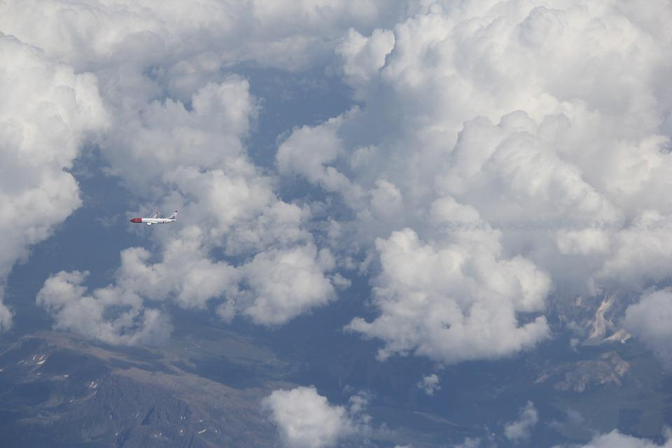 Plane, Clouds, Mountains, Holiday