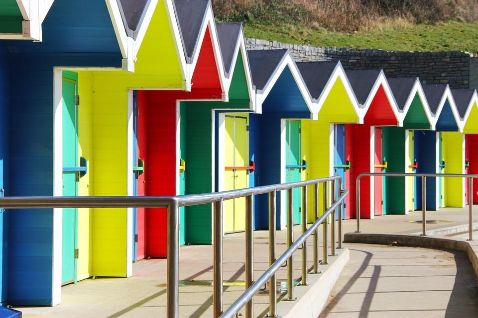 Seaside, Huts, Beach, Colourful, Holiday, Coast