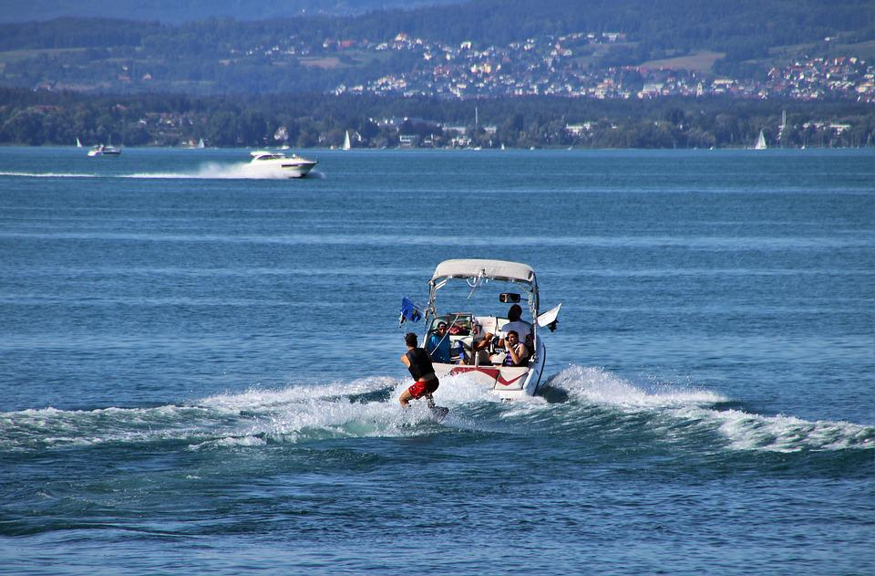 Vacations, Lake, Water, Skis, Motorboat, Holiday, Stock