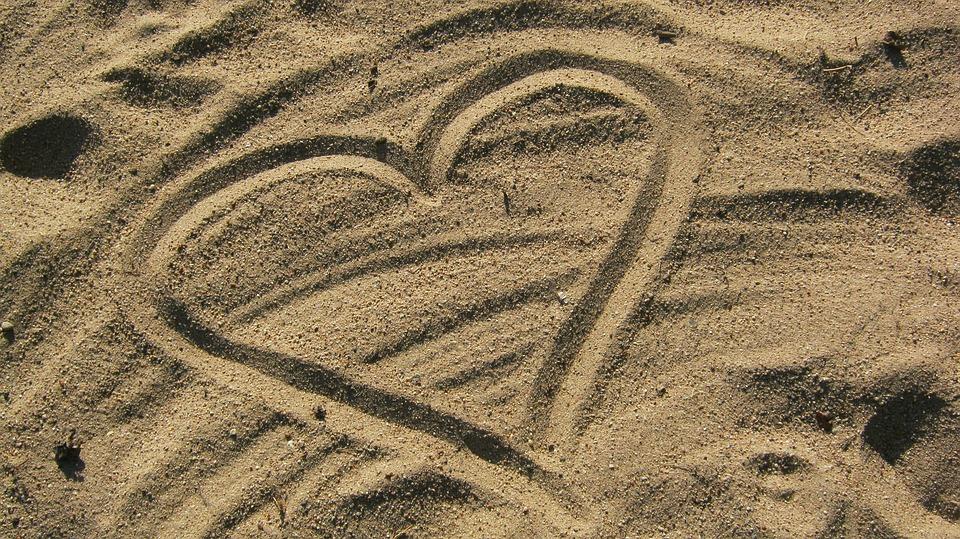 Heart, Love, Sand, Summer, Holiday