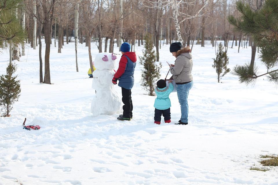 Snowman, Family, Winter, Snow, Holiday, Season