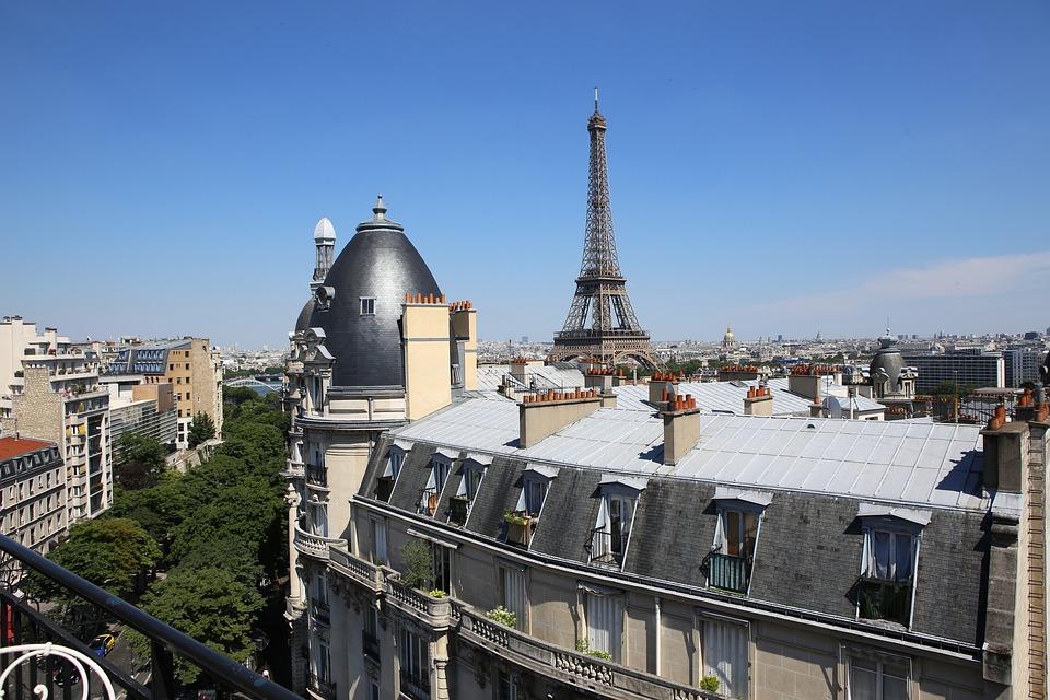 Paris, France, Roofs, Eiffel, Tower, Holidays