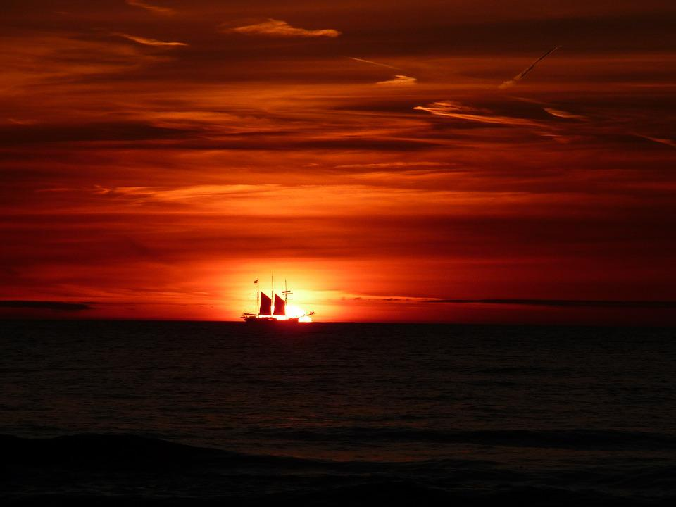 Sunset, Sailing Boat, Sea, Afterglow, Holland