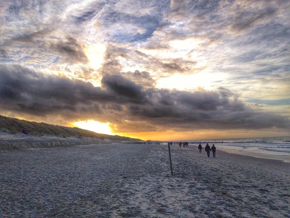 Sea Breeze, Beach, Domburg, Holland, Sand, Sea, Sunset