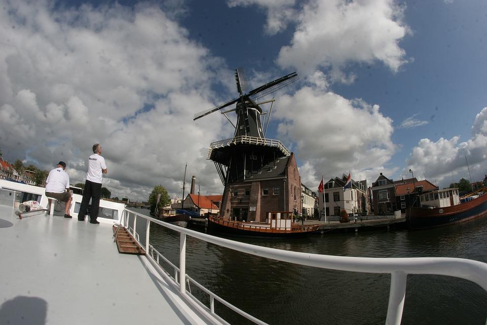 Windmill, Ship, Netherlands, Holland, Friends, Water