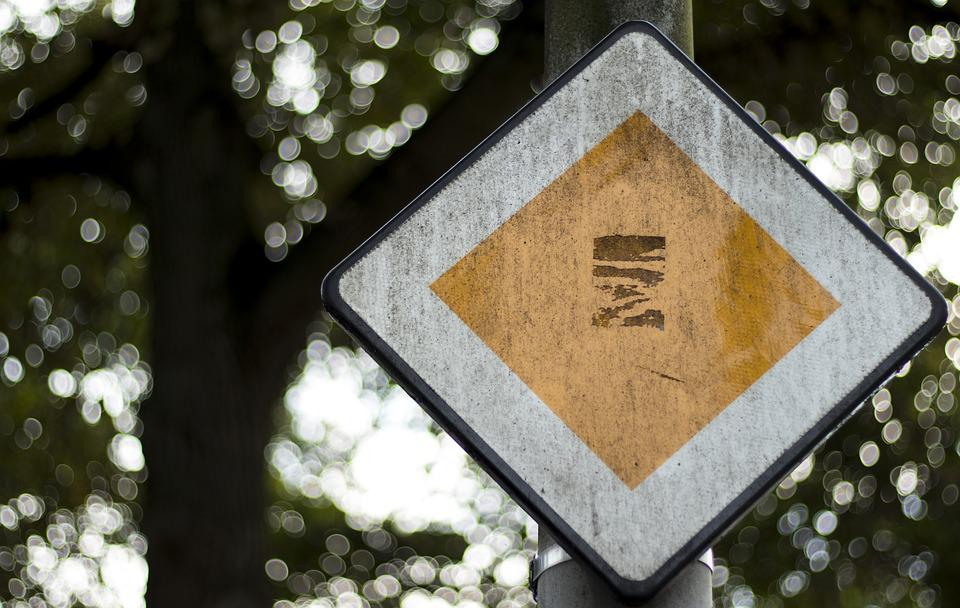 Right Of Way, Holland, Rau, Bokeh, Street Sign