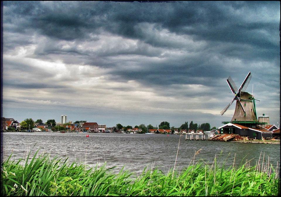 Holland, Zaanse Schans, Windmill, Storm, Architecture