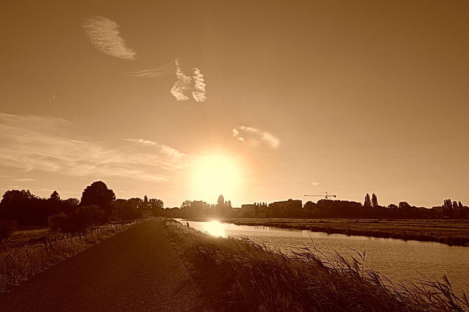 Sunset, Landscape, Evening, Dutch Landscape, Holland
