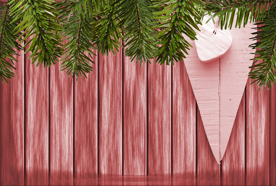 Christmas, Wood, Red, Heart, Holly, Frame, Decoration