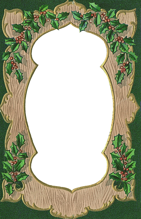 Vintage, Christmas, Frame, Border, Decorative, Holly