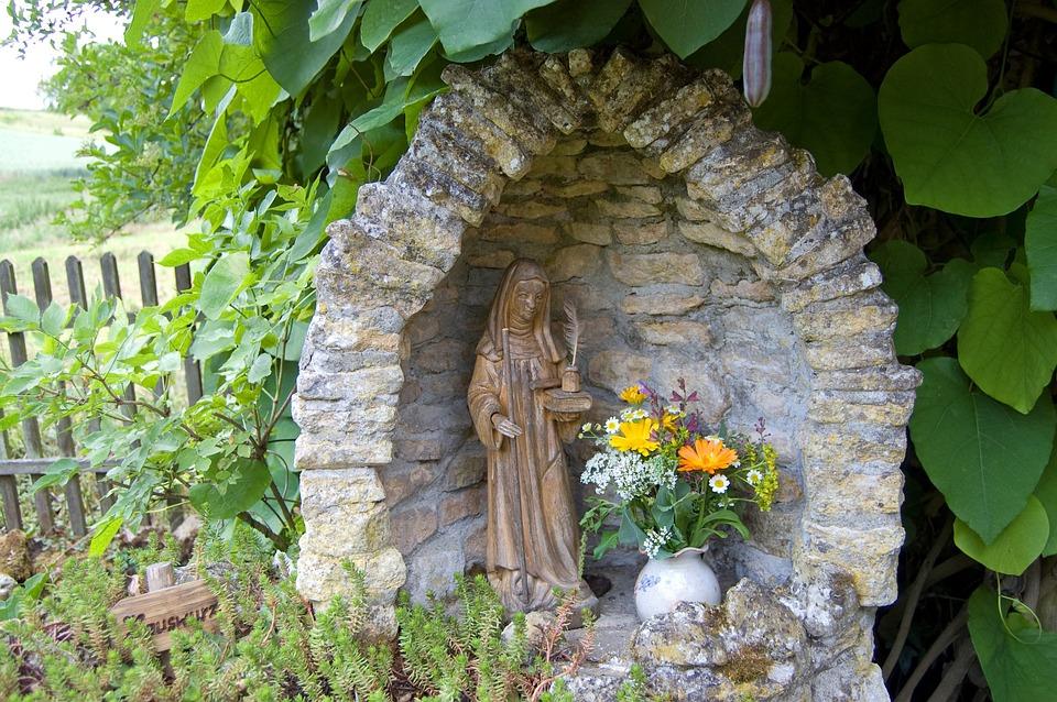 Garden, Wall, Niche, Holy Statue, Hildegard Von Bingen