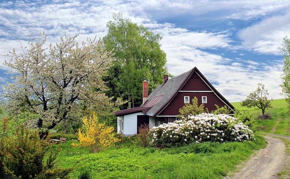 Spring, Cottage, House, Home, Garden, Grass, Landscape