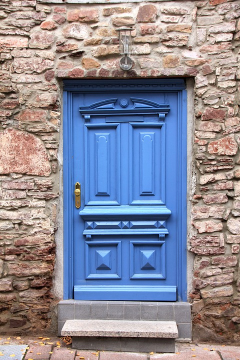 Building, Home, Door, Blue, Wall, Level, Masonry