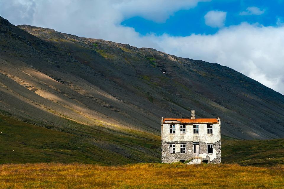 Iceland, Landscape, Mountains, House, Home, Abandoned