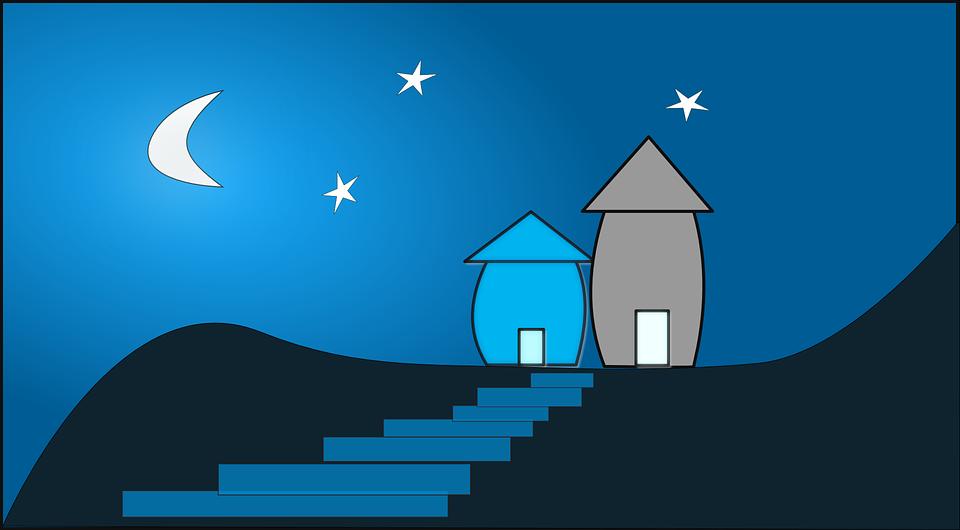 Night Sky, Home, House, Stairs, Night, Mountains