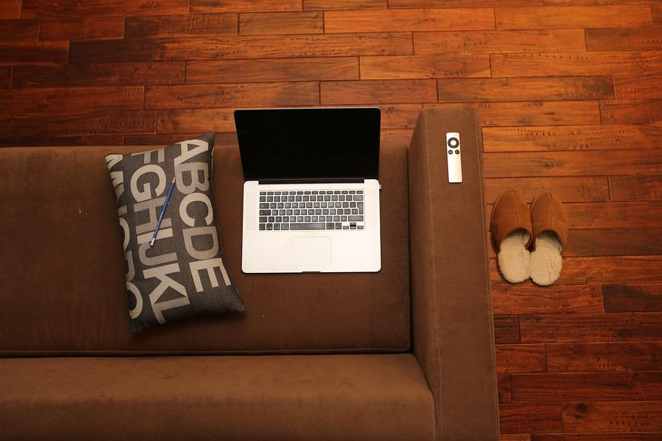 Home Office, Notebook, Home, Couch, Sofa, Canapé