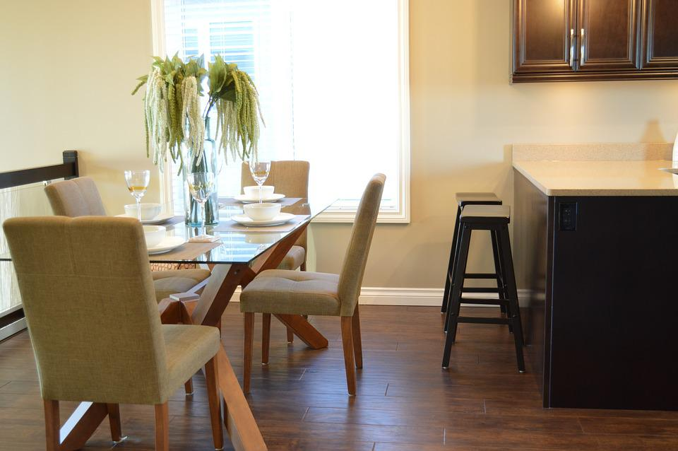 Dining Room, Kitchen, Table, Chairs, House, Home
