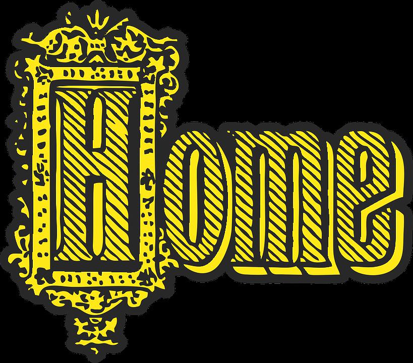 Home, Text, Word, Decorative, Vintage, Retro