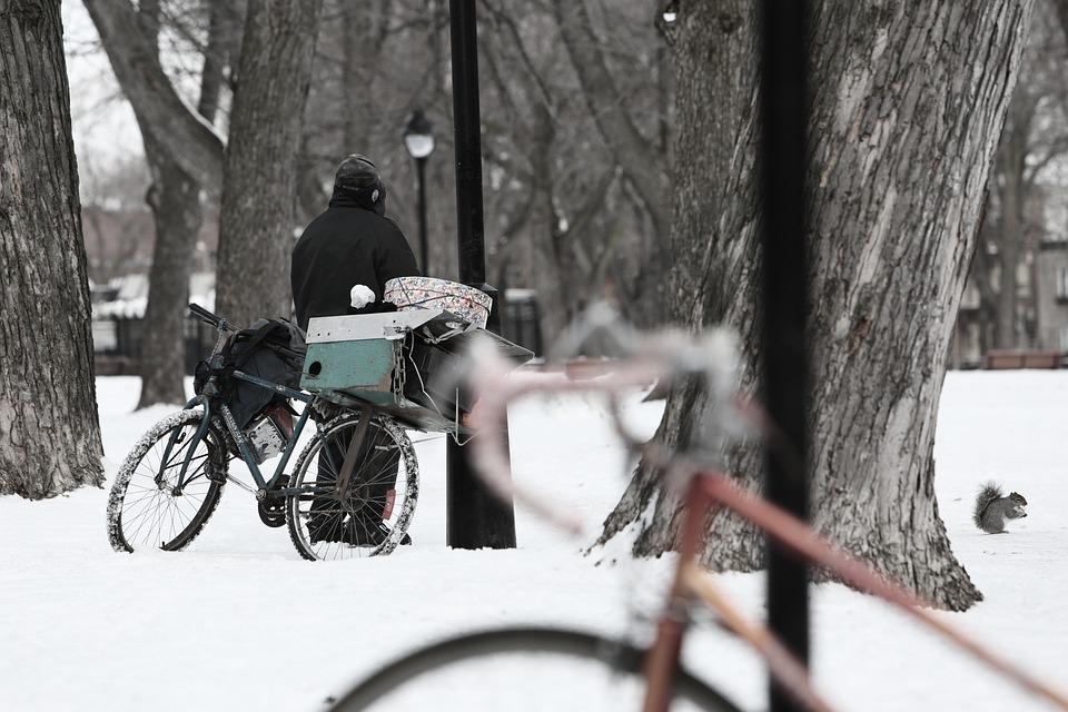 Homeless, Bike, Snow, Winter, Scene, Cold, Poverty