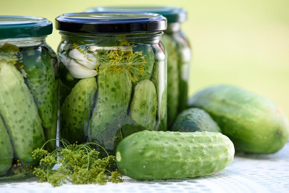 Pickled Cucumbers, Homemade Preserves, Jars, Eating