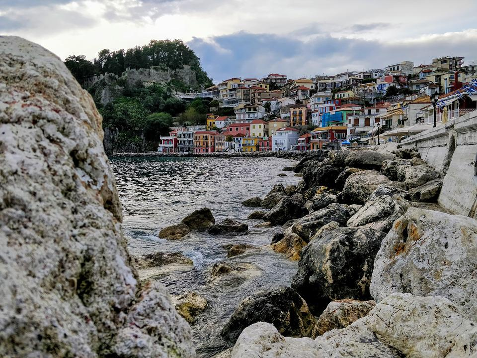 Parga, Sea, Rocks, Clouds, Sky, Homes