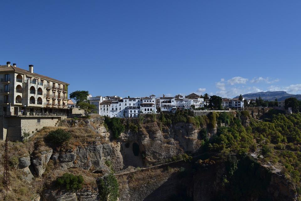 Ronda, Spain, City, Homes, Cliffs, Rock