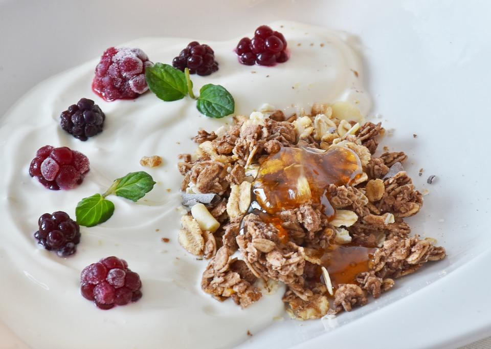 Muesli, Breakfast, Glass, Yogurt, Dessert, Honey