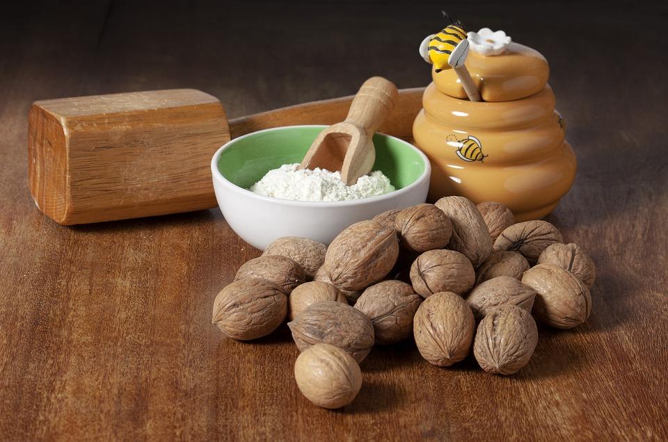 Ingredients, Flour, Walnuts, Honey