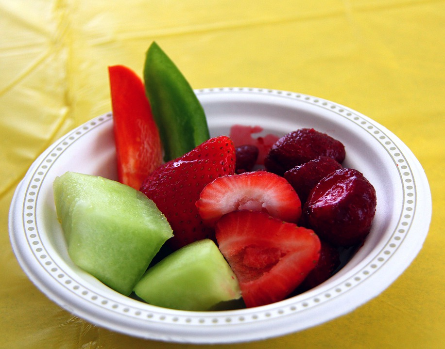 Food, Berries, Strawberries, Bowl, Melon, Honeydew