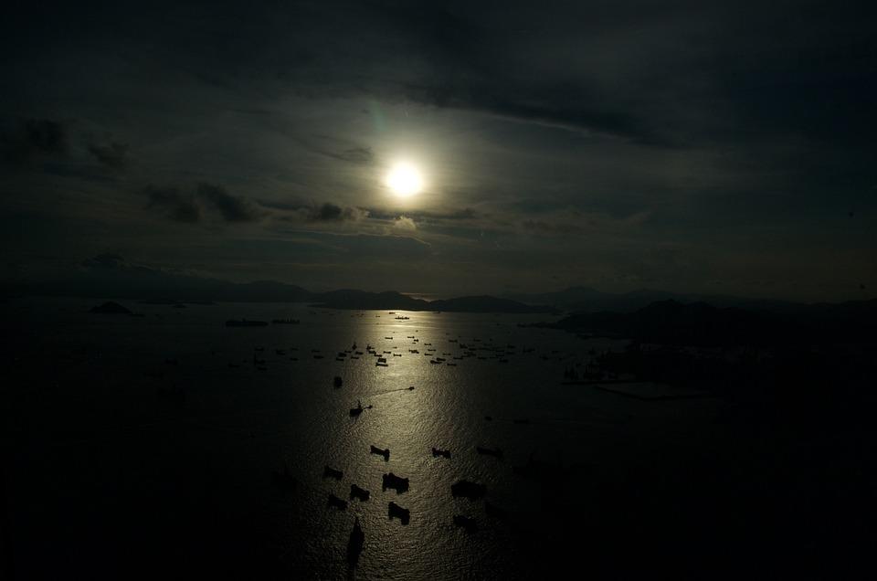 Hong Kong Harbour, Boats Sunset, Moody, Asia, China