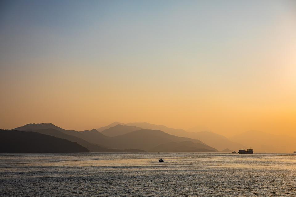 Ocean, Sunset, Hong Kong, Dusk, Evening, Sea, Landscape