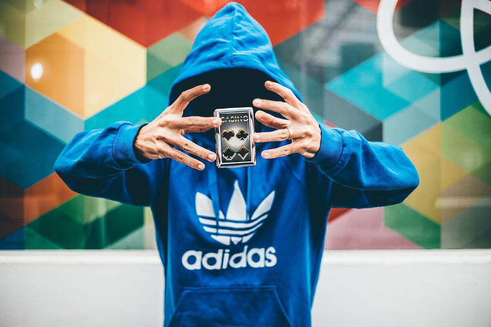 People, Man, Cards, Anonymous, Hoodie, Jacket, Adidas