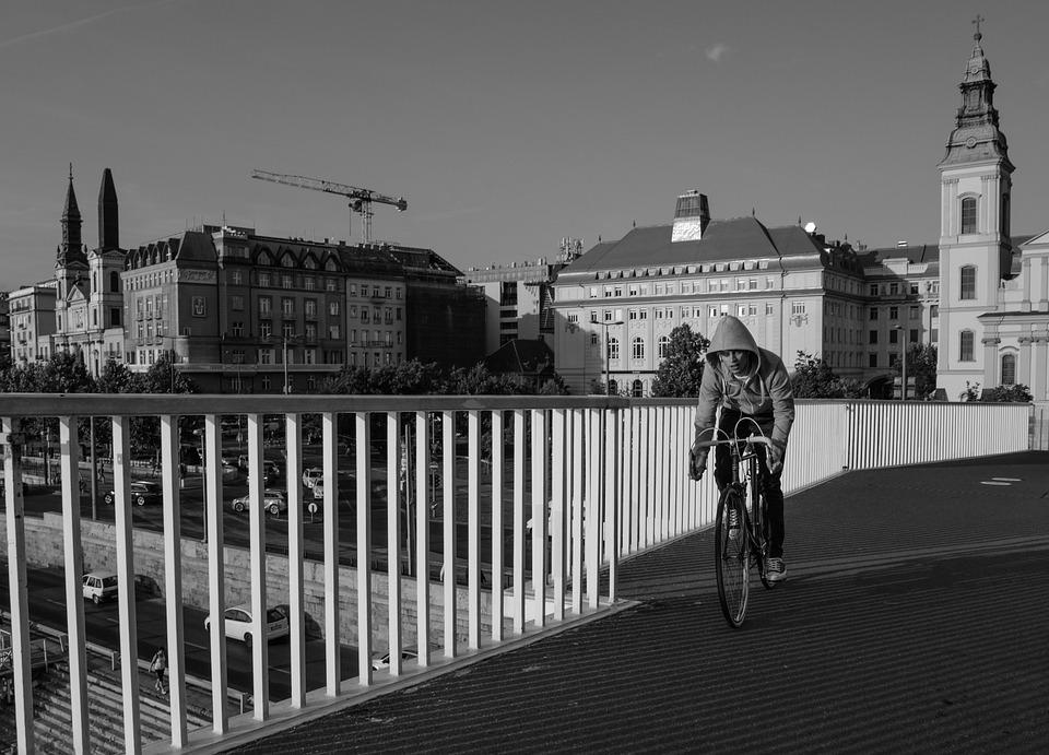 Bicycle, Man, Bridge, Budapest, Cycle, Hoodie