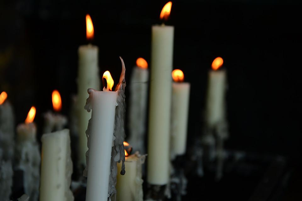Candles, Church, Funeral, Hope, Flame