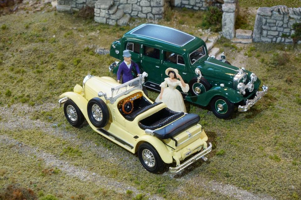 Model Cars, Diorama, Mercedes 630 K, Horch 851