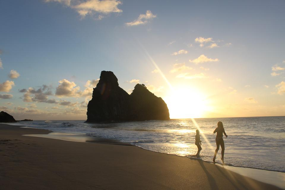 Children, Beach, Play, Horizon, Sol, Eventide, People