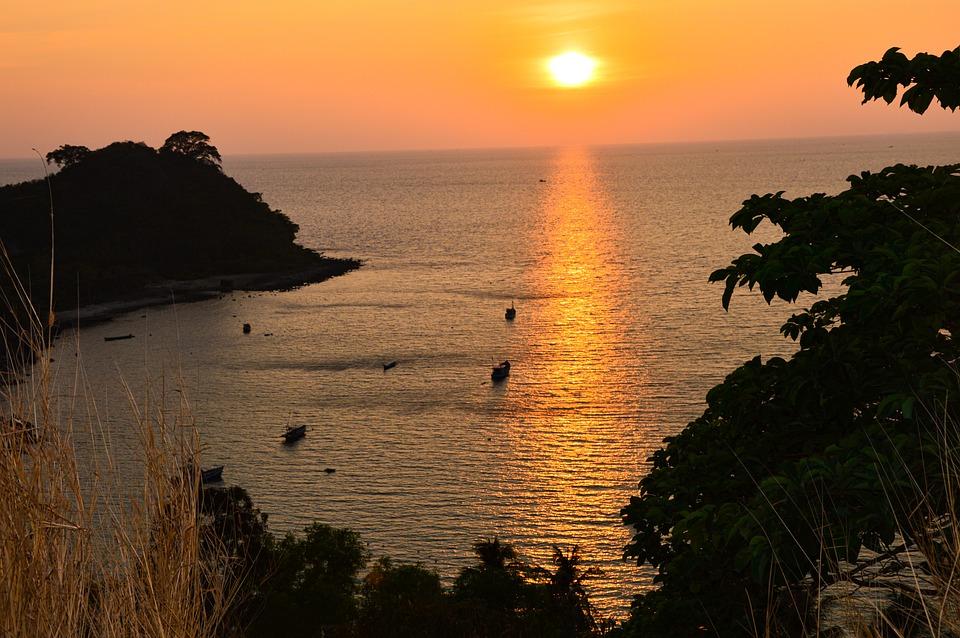 Sunset, Sea, Coast, Coastline, Boats, Horizon, Shore
