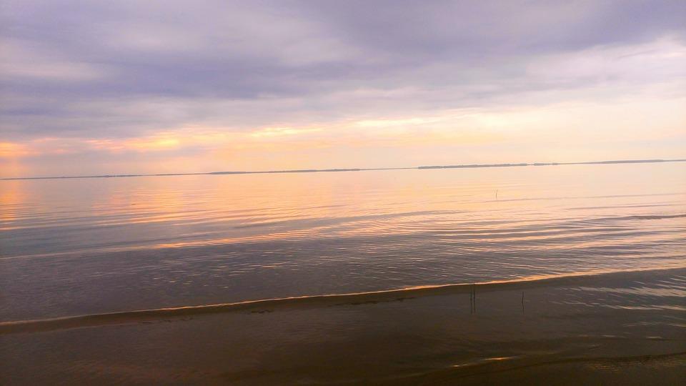 Morning, Dawn, Lilac, Horizon, Sky, Clouds, Sun, Water