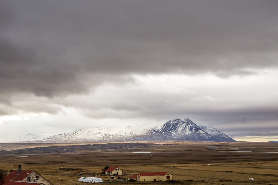 Mountain, Horizon, Iceland, Sky, Clouds, View