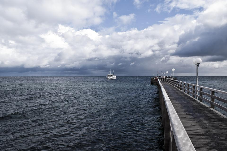 Kühlungsborn, Sea Bridge, Passenger Ship, Horizon