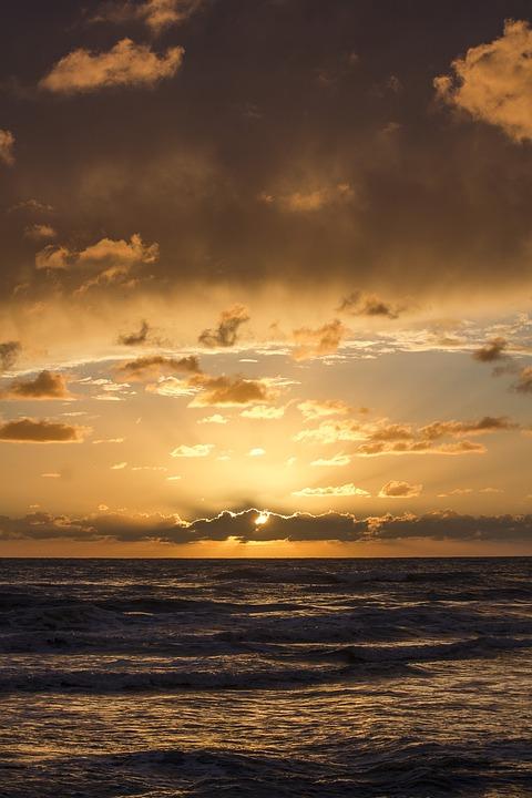 Sunset, Sea, Sky, Horizon, Sun