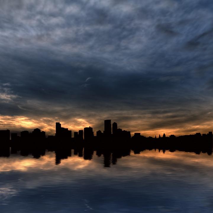 Skyline, Skyscrapers, City, Water, Horizon, Sunrise