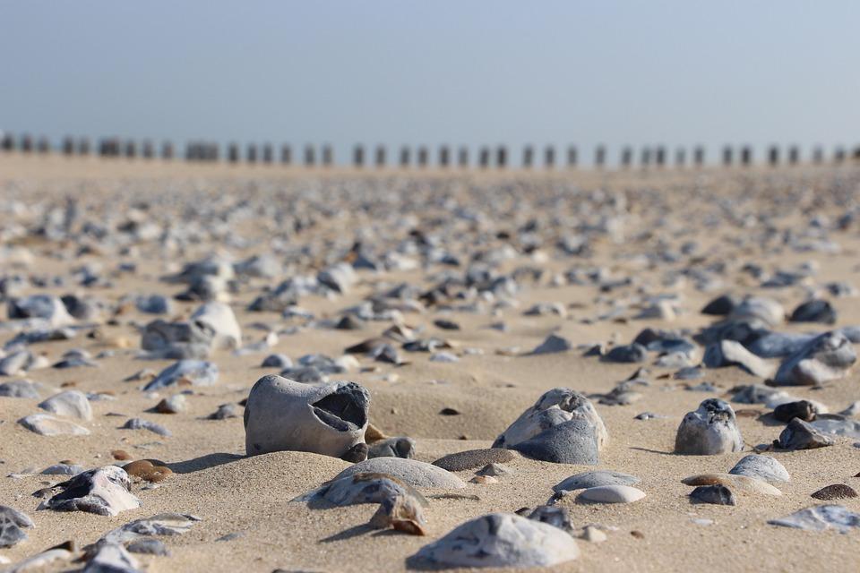 Pebble, Beach, France, Sand, Stones, Horizon, Surface