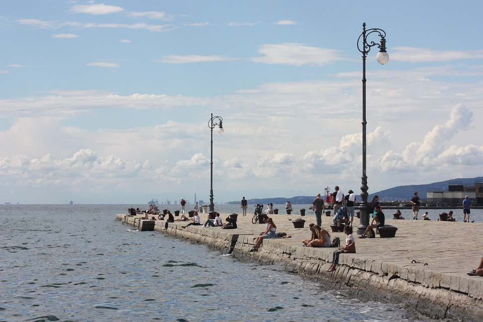 Trieste, Pier, Sea, Horizon